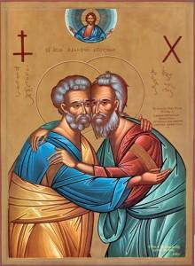Icona bizantina ecumenica: l'abbraccio tra san Pietro (Roma) e sant'Andrea (Est)