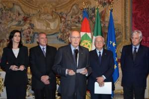 Giorgio Napolitano dopo la comunicazione del rinnovo del mandato