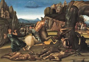 Signorelli, San Giorgio e il drago una delle opere esposte alla mostra sostenuta dalla Fondazione