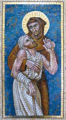 """""""San Francesco e il lebbroso"""" in un mosaico esposto nella Città del Vaticano"""