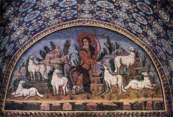 """""""Cristo il buon pastore"""" mosaico, mausoleo di Galla Placidia a Ravenna"""