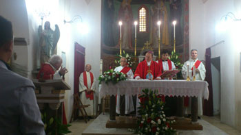 La celebrazione nella chiesa di Porchiano in occasione della festa di Santa Cristina