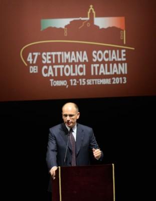 Il premier Enrico Letta durante il suo intervento alla Settimana Sociale