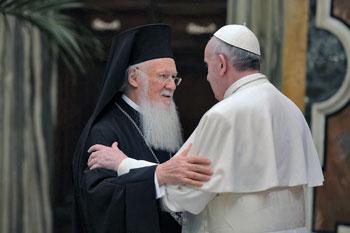 Papa Francesco con il patriarca ecumenico ortodosso di Costantinopoli Bartolomeo I
