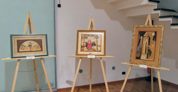 Alcune delle opera di tarsia lignea di Rolando Chiaraluce esposte alla mostra