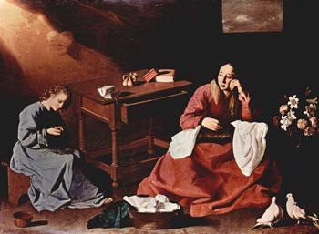 """""""Cristo e la Madonna in casa a Nazareth"""" di Zurbaràn (1635-40)"""