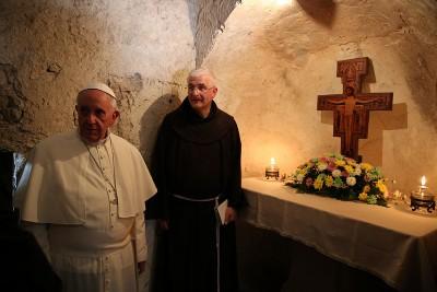 Papa Francesco all'Eremo delle Carceri