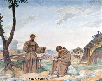 San Francesco detta la regola, affresco, Corridoio delle Stimmate de La Verna