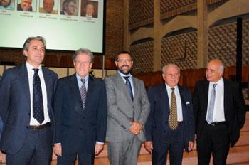 Da sinistra i candidati a rettore Oliviero, Volpi, Bidini, Moriconi, Elisei
