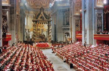 Una fase dei lavori del Concilio Vaticano II