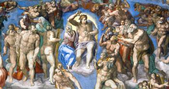 Il Cristo giudice con Maria, particolare del Giudizio universale della Cappella Sisitina