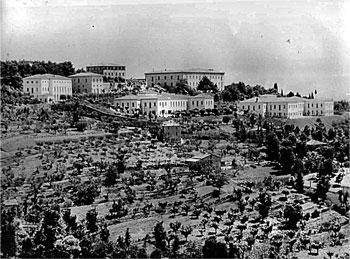 Un antica foto con un panorama degli edifici del complesso dell'ex ospedale neuropsichiatrico di Perugia