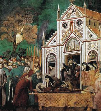 L'ultimo saluto di Chiara a Francesco, tra la folla degli assisani (Giotto, Basilica superiore di San Francesco, Assisi)