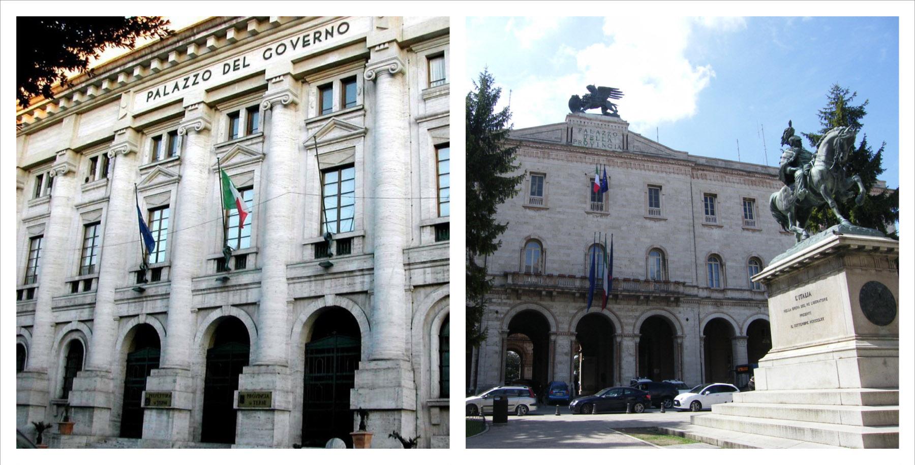 I palazzi della Provincia di Terni e di Perugia