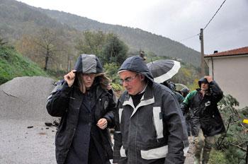 Sopralluogo della presidente Marini a Costacciaro, Scheggia Pascelupo e a Gualdo Tadino per i danni del maltempo, qui con il sindaco di scheggia Giovanni Nardi