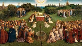 """Jan van Eyck, """"L'adorazione dell'Agnello mistico"""" (1558)"""