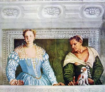 Donne al balcone in un affresco del Veronese