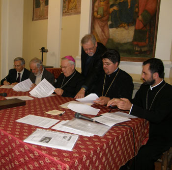 La costituzione del Consiglio delle Chiese cristiane di Perugia. Da sin. Furnari, Genre, Bassetti, Pesce, Radu, Dragutan