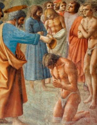 San Pietro battezza dei neo-convertiti (Masaccio, Firenze)