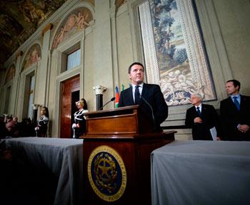Matteo Renzi riceve l'incarico a formare il Governo dal presidente Napolitano