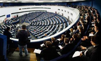 L'aula del parlamento europeo nella sede di Stasburgo