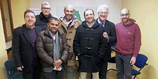 Foto di gruppo del direttivo del Forum delle Famiglie, da sinistra: Aquino, Pauselli, Kumar, Pillon, Rossi,Villani e D'Andola