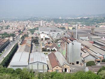 Veduta panoramica degli stabilimenti della acciaierie