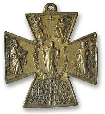 Croce di Sant' Udabrico, Vescovo di Augusta, le cui gesta sono ricordate sulla Croce greca a due facce raffigurante da un lato tre santi e dall'altra una scena di battaglia - Galleria Nazionale dell'Umbria