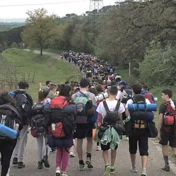 Il gruppo dei 250 ragazzi verso l'abbazia di Monte Oliveto Maggiore