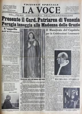 """La prima pagina de """"La Voce"""" in occasione del viaggio a Perugia nel 1955 del card. Roncalli"""