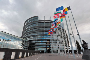 Il palazzo della sede del Parlamento Europea di Strasburgo