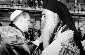 Incontro tra Paolo VI e il Patriarca Atenagora nell'ottobre del 1967