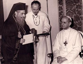 Papa Paolo VI e il patriarca Atenagora a Gerusalemme nel gennaio 1964