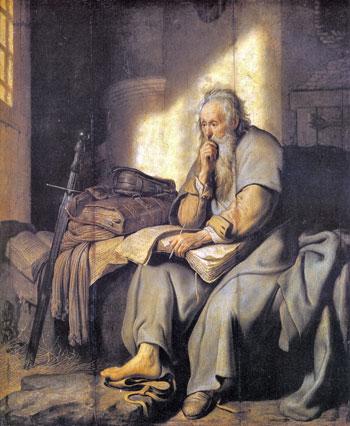 """Da un dipinto di Rembrandt del 1627, san Paolo in carcere, dove scrisse la """"Lettera ai Filippesi"""" citata dal Papa"""