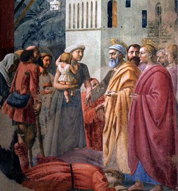 L'Elemosina di San Pietro - Masaccio, 1425 - Cappella Brancacci Chiesa del Carmine, Firenze