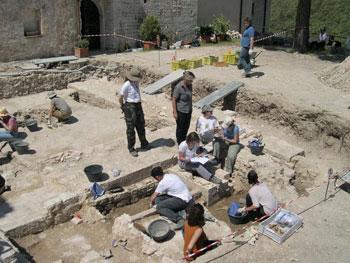 L'area degli scavi a Sassovivo