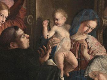 Madonna del rosario (particolare) di Orazio Gentileschi -  Fabriano Pinacoteca Civica - (1613 - 1618)