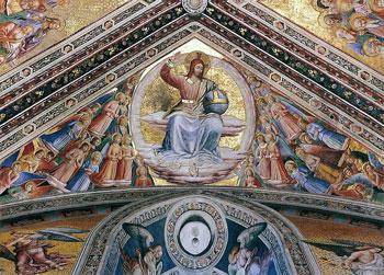 """""""Cristo Giudice"""" del Beato Angelico, affresco del 1447, cappella di San Brizio nel duomo di Orvieto"""