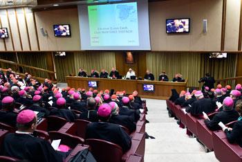 Veduta dell'aula durante i lavori del Sinodo