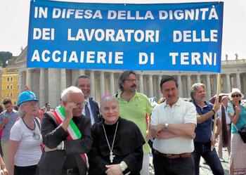 I lavoratori dell'Ast all'Angelus in piazza San Pietro il 31 agosto scorso