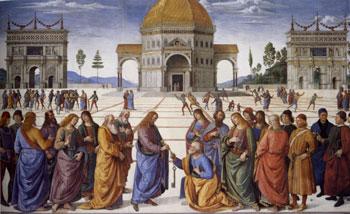 La consegna delle chiavi, affresco di Pietro Perugino, 1481-82, Cappella Sistina, Vaticano
