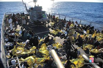 Profughi salvati dai militari