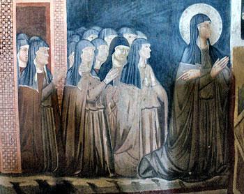Santa Chiara in preghiera con le sue suore, affresco, chiesa di San Damiano, Assisi