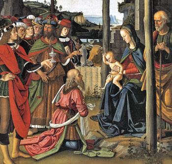 Adorazione dei Magi di Pietro Perugino, olio su tavola, 1470-76, Galleria nazionale dell'Umbria