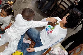 Volontaria del Servizio Civile durante un'attività