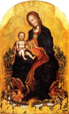 Gentile da Fabriano, Madonna in trono col Bambino e angeli musicanti, tempera su tavola, 1405-1410, Galleria Nazionale dell'Umbria-Perugia
