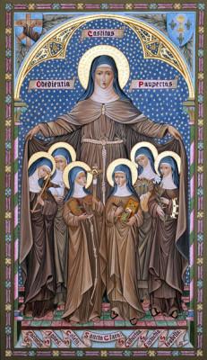 """Icona di """"Santa Chiara e delle prime sante dell'ordine"""""""
