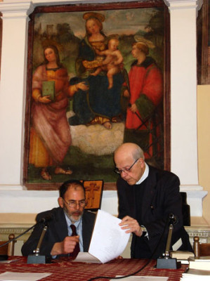 Il rabbino Cesare Moscati con don Elio Bromuri