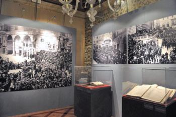 Una delle sale della mostra con le foto della celebrazione al Milite Ignoto a Perugia il 27 ottobre 1921