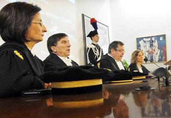 Il tavolo alla cerimonia di apertura dell'anno giudiziario della Corte dei conti dell'Umbria